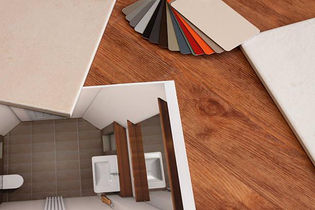Plan de salle de bain avec carreaux de différentes couleurs